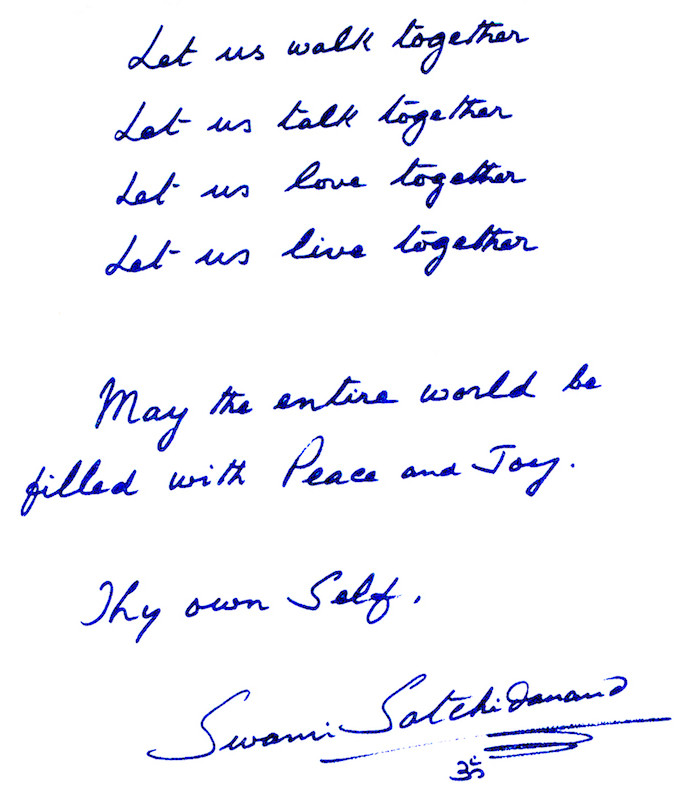 Hand Written Note from Swami Satchidananda